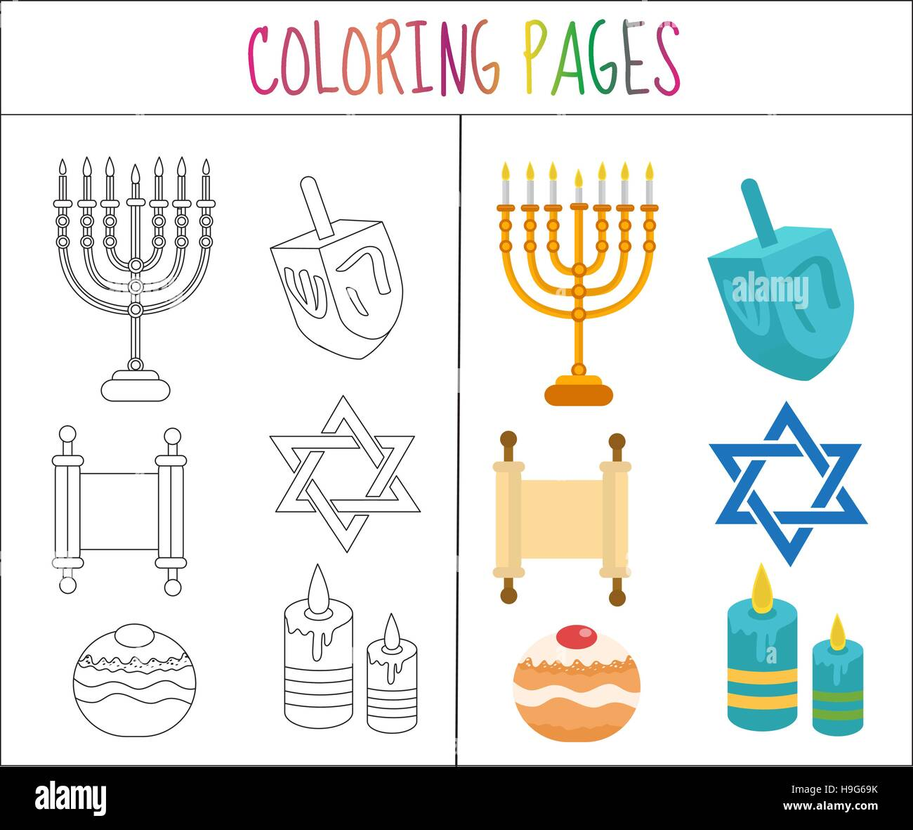 coloring book page hanukkah set sketch and color version for kids H9G69K