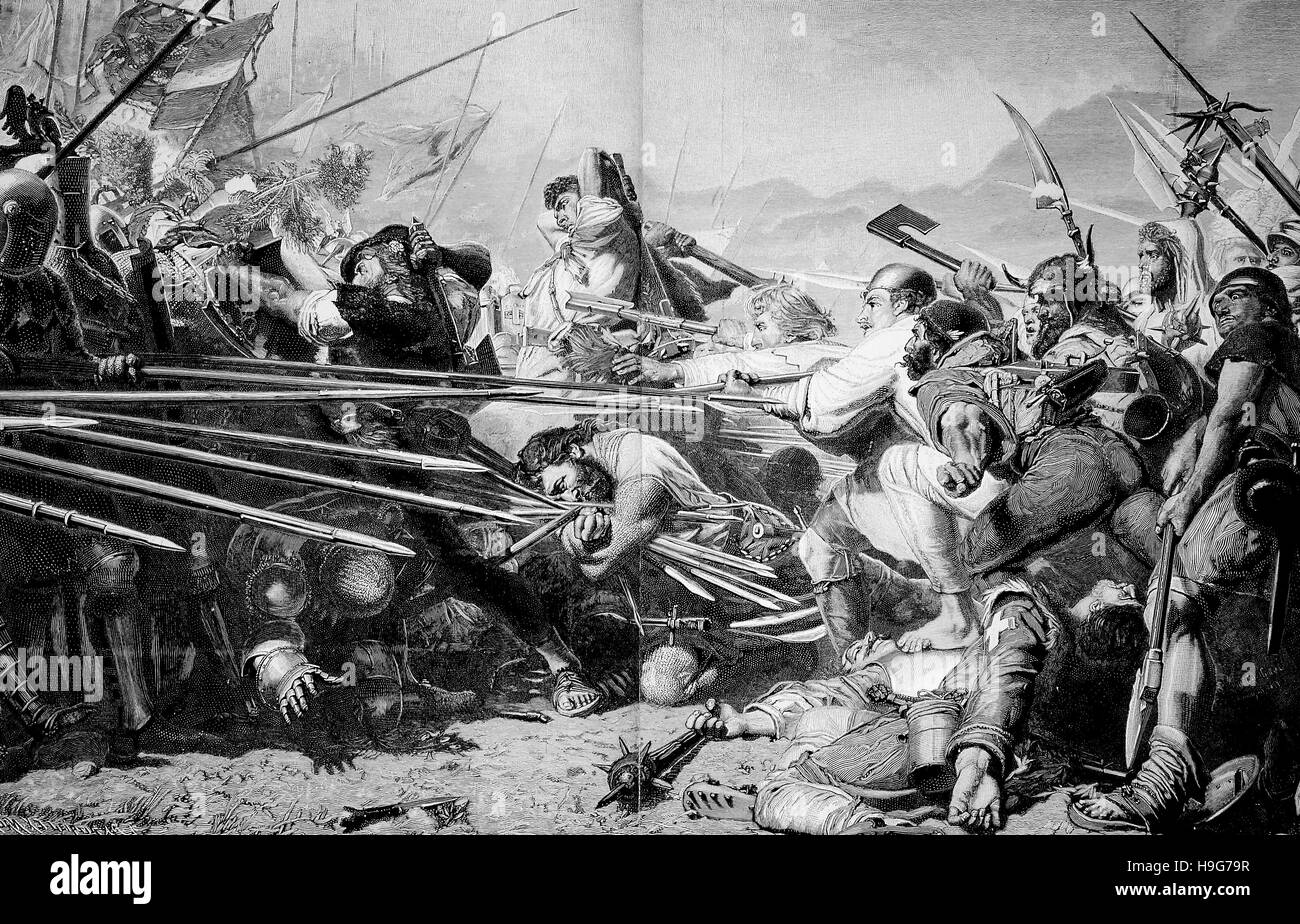 The Battle of Sempach was fought on 9 July 1386, between Leopold III, Duke of Austria and the Old Swiss Confederacy. Stock Photo
