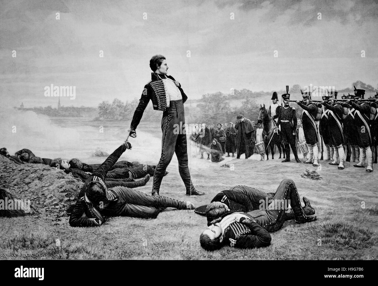 The shooting of the eleven Schill's officers on September 16, 1809, on the Lippewiese near Wesel, Germany. Standing: - Stock Image