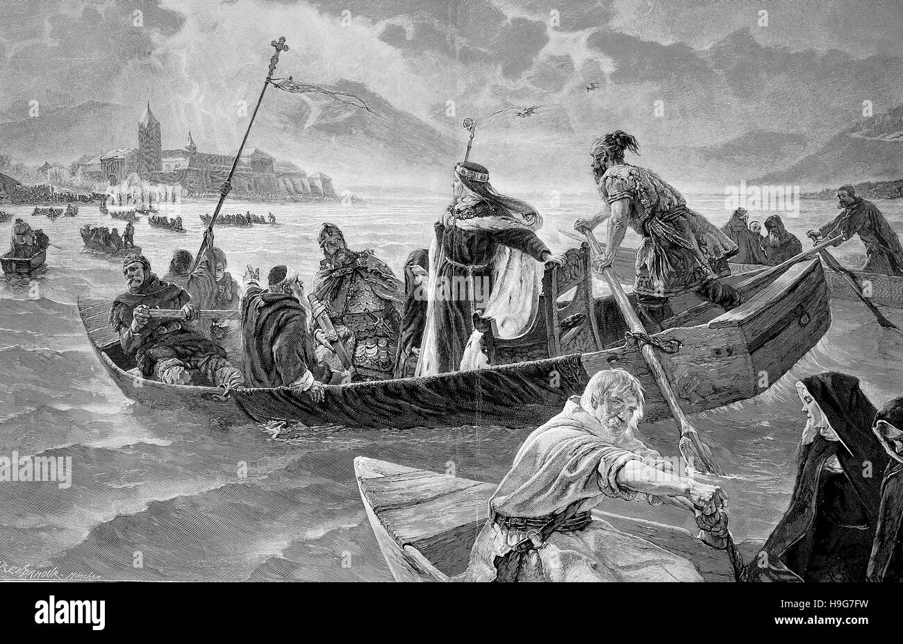 arrival of abbess Irmgard at Frauenchiemsee, Germany, in the year 894 - Stock Image