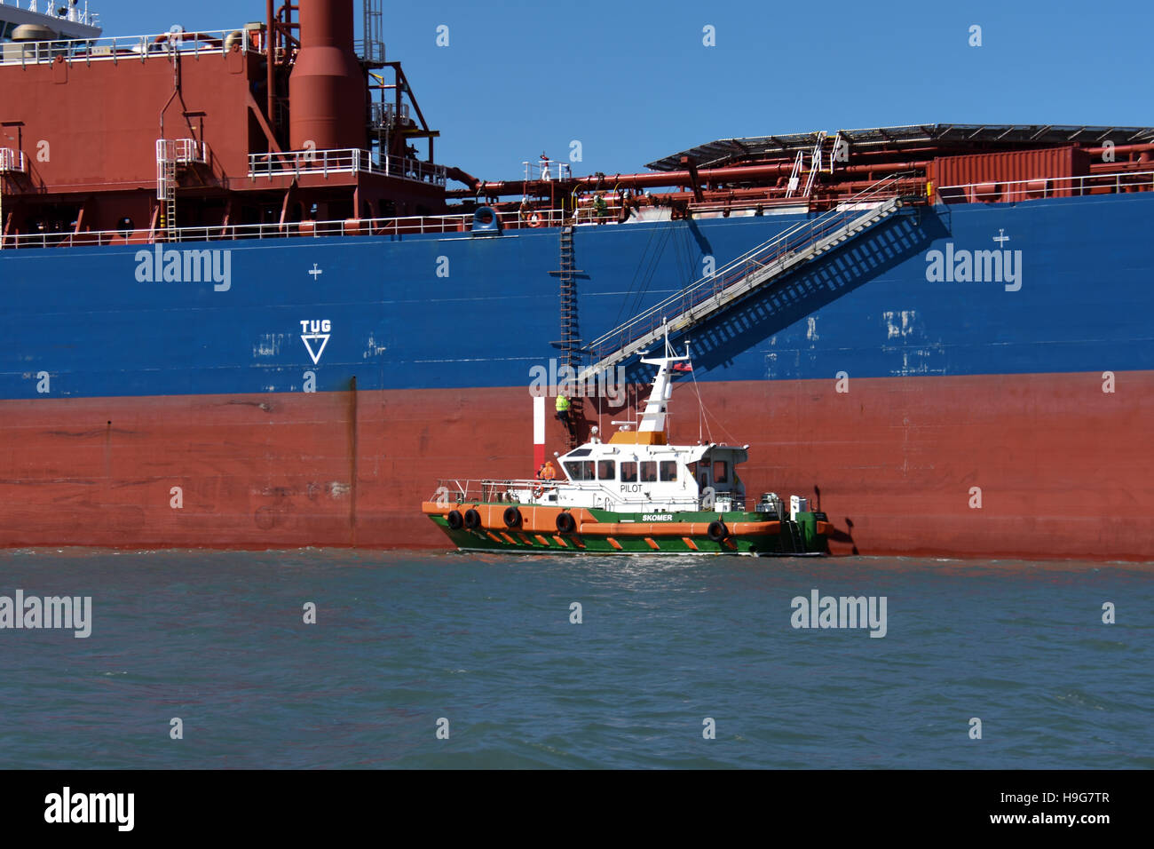 A Ships Pilot Boarding An Oil Tanker In Milford Haven From