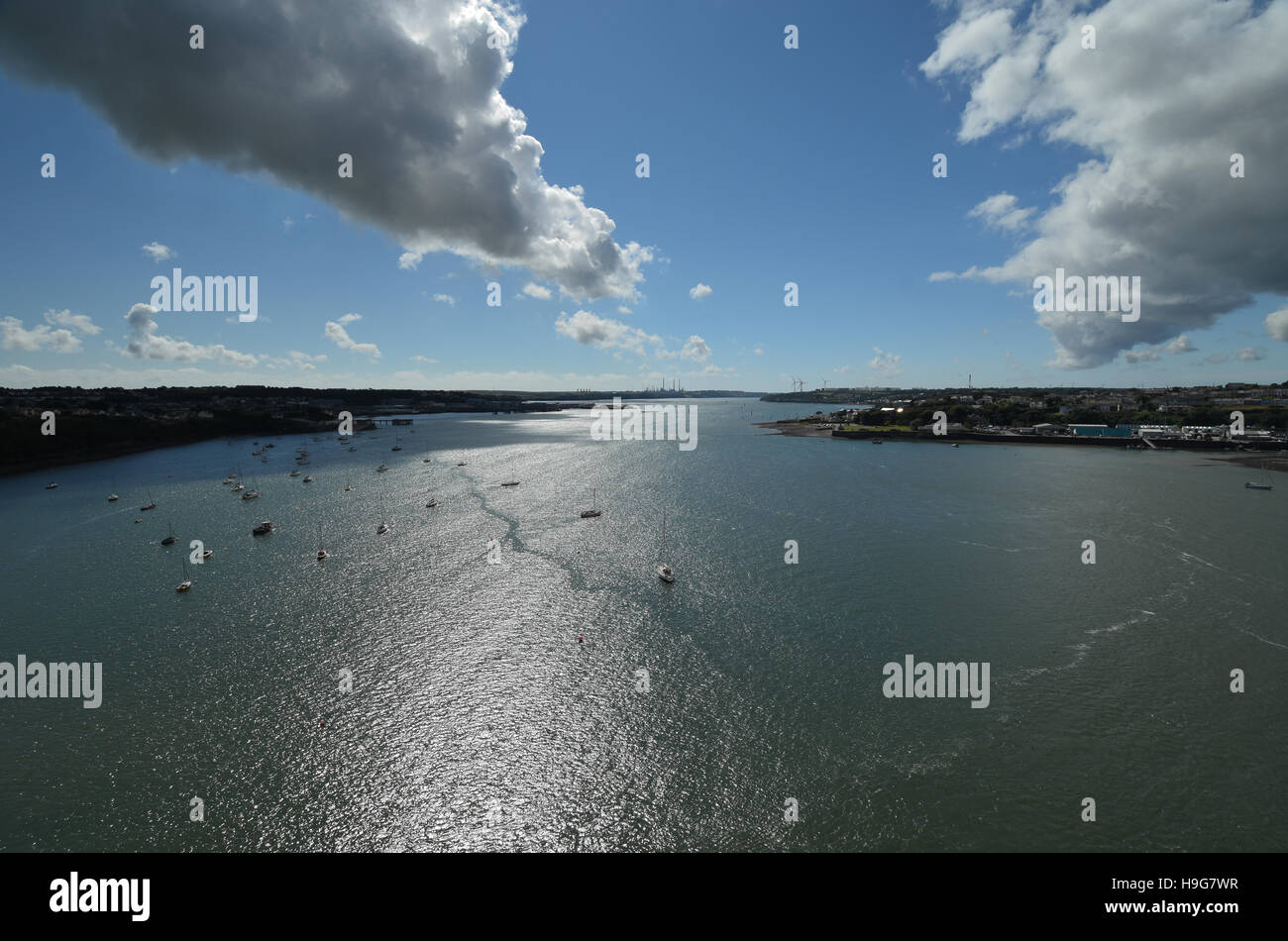 Dramatic view looking west down Milford Haven from the Cleddau bridge Stock Photo