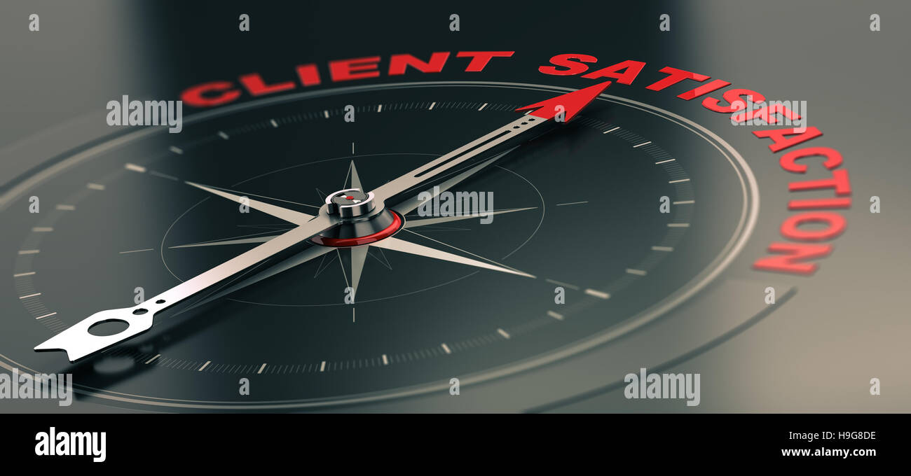 3D illustration of a conceptual compass with needle pointing the text client satisfaction, Business or Marketing - Stock Image