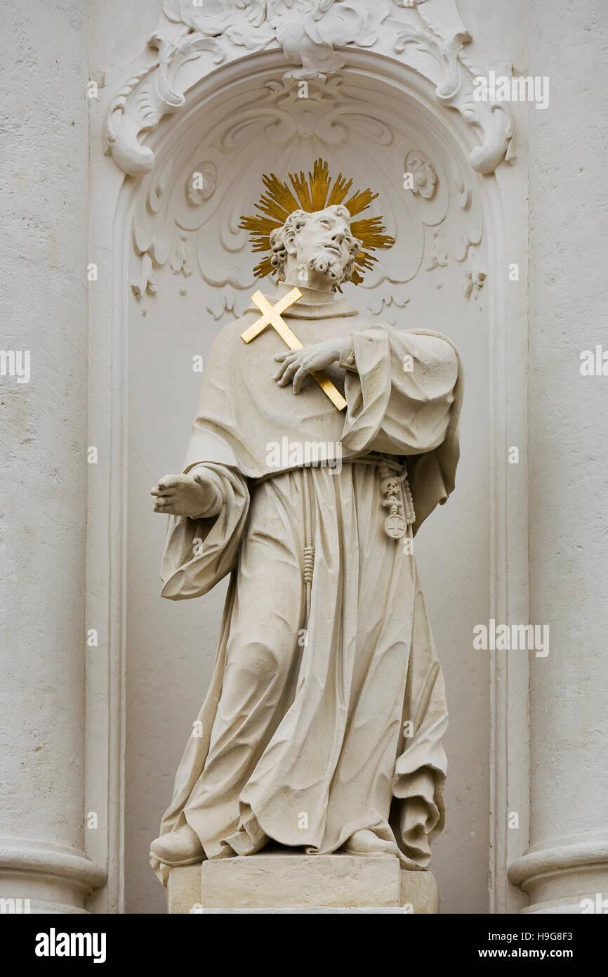 Statue on the pilgrimage church, monastic church and parish church of the Minoriten in Graz, Styria, Austria, Europe - Stock Image