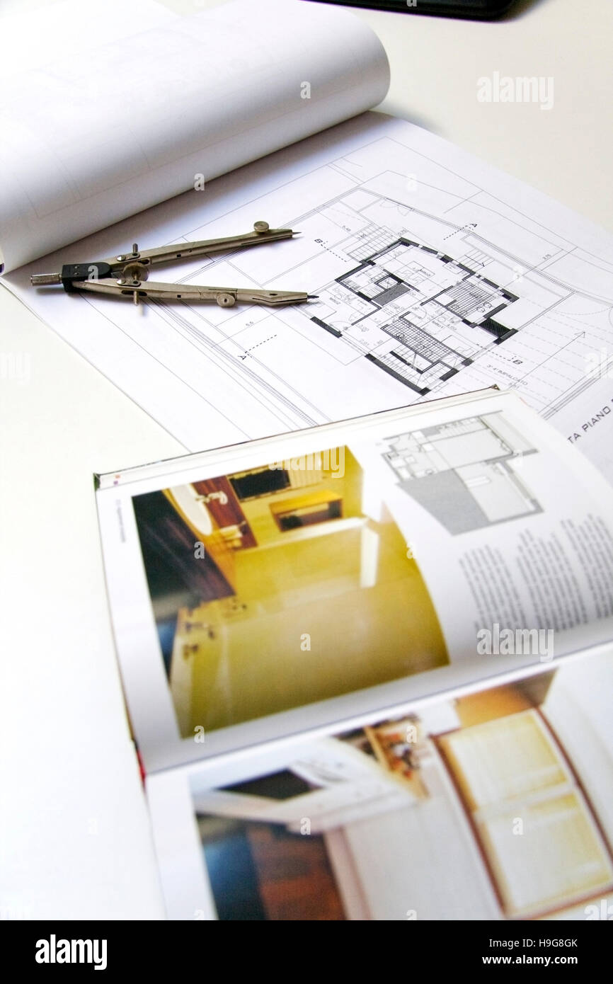 Architecture, construction plan, draft - Stock Image