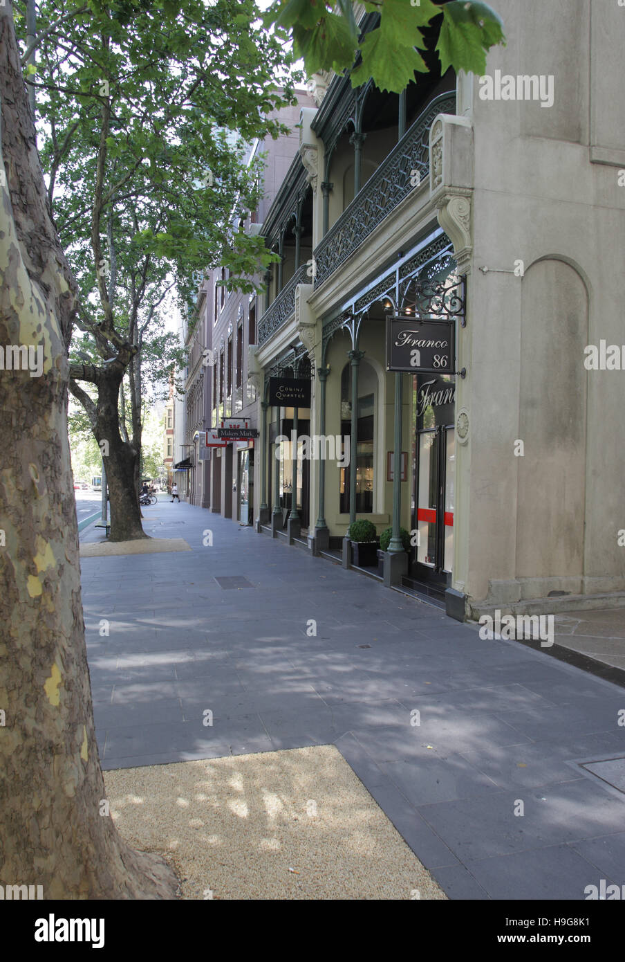 Collins Street, upmarket shopping street with Victorian buildings, Melbourne, Victoria, Australia - Stock Image