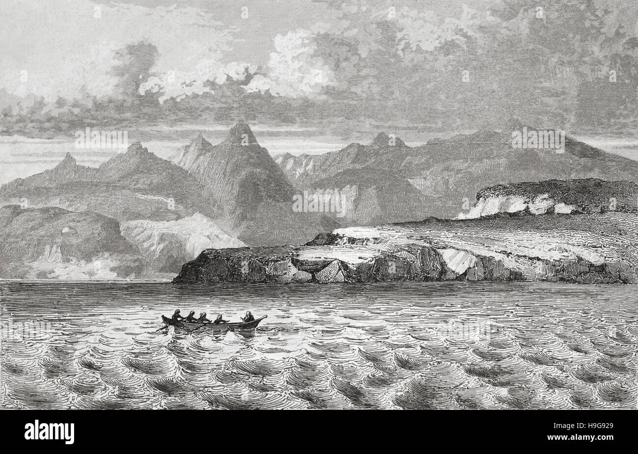 Wollaston Islands, Cape Horn, Chile. 19th century steel engraving by Gaucherel and Lemaitre direxit. - Stock Image