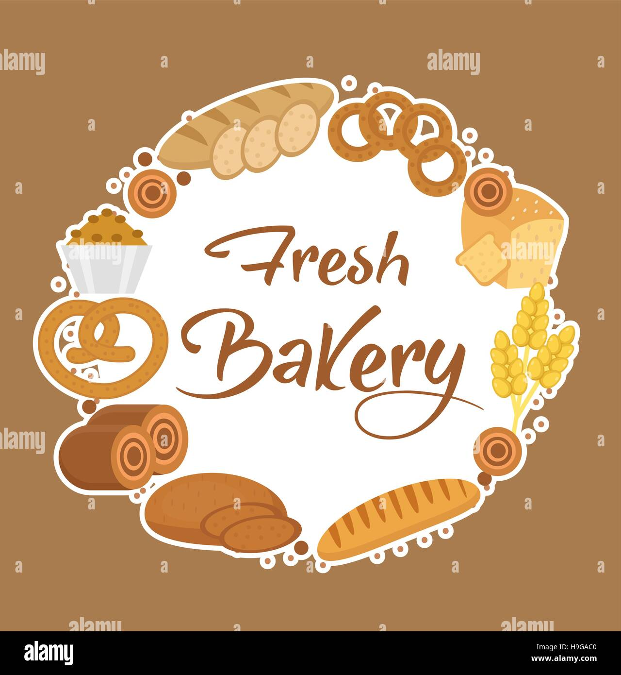 bakery products frame flat style set of different bread in a round