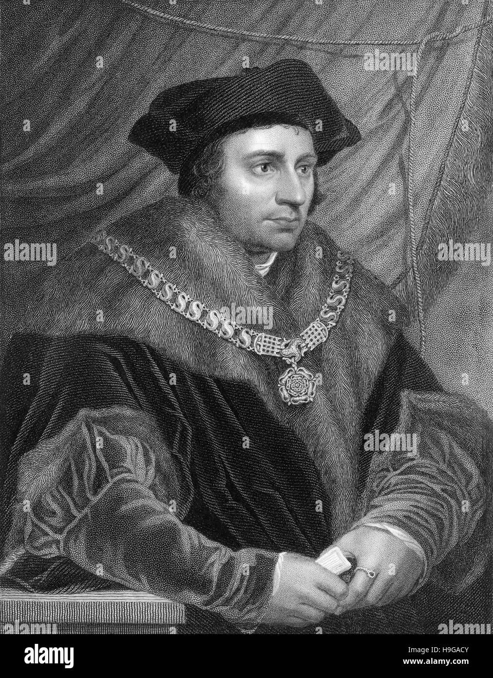 Sir Thomas More, Thomas Morus or More, 1478 - 1535, an English statesman, humanist writer and a saint and martyr - Stock Image