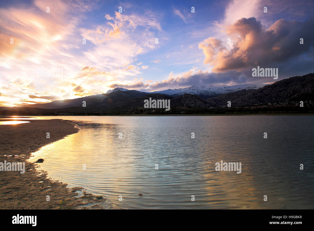beautiful sunset on Lake , Manzanares del Real , Spain Stock Photo