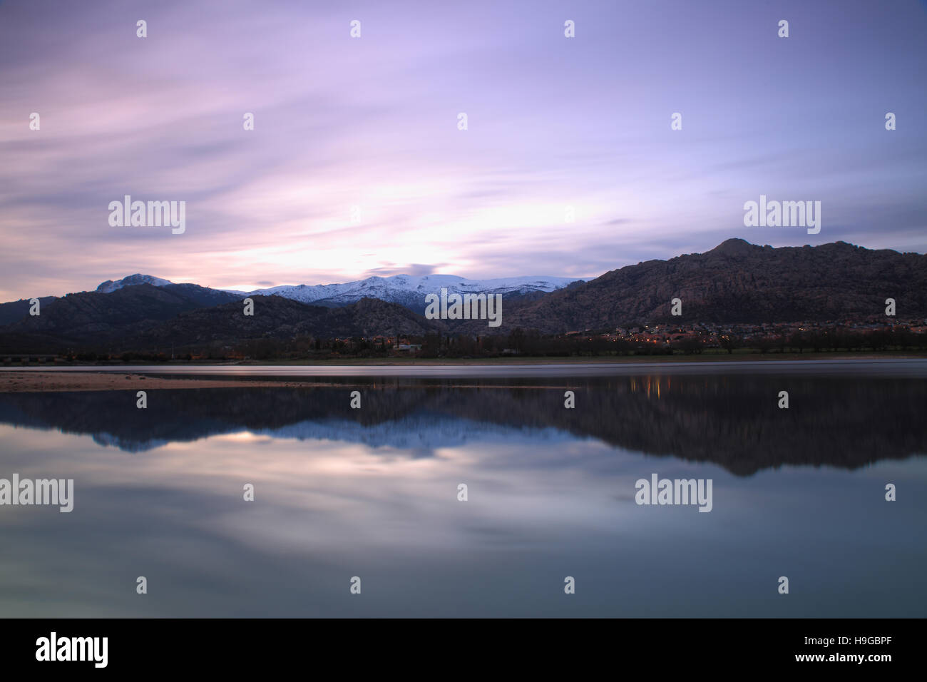Dusk on Lake Santillana, Manzanares del Real, Spain Stock Photo
