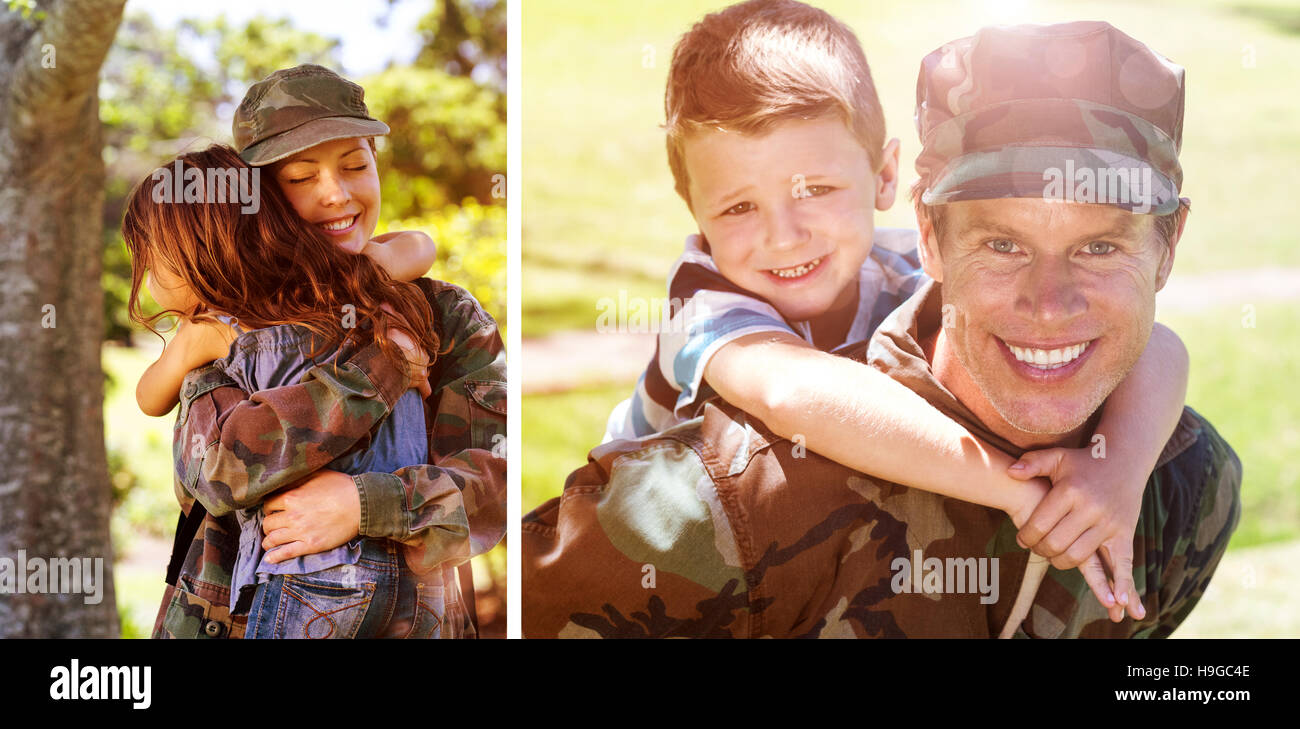 Composite image of happy soldier giving piggyback to his son - Stock Image