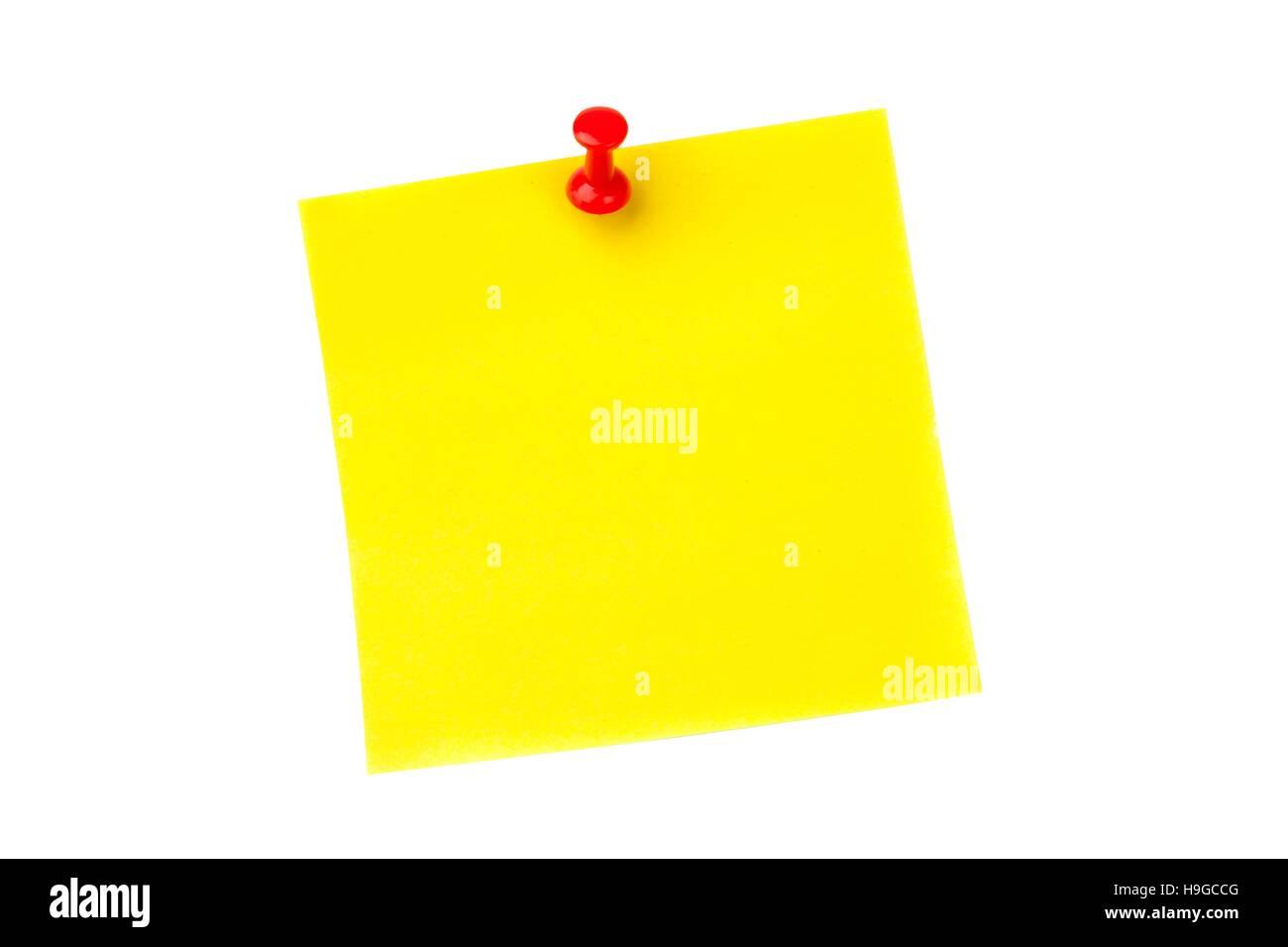 Illustrative image of pushpin on yellow paper - Stock Image