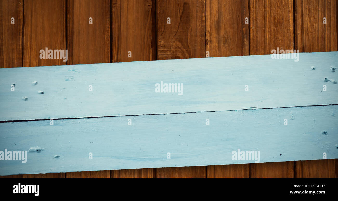 Composite image of painted blue wooden planks - Stock Image