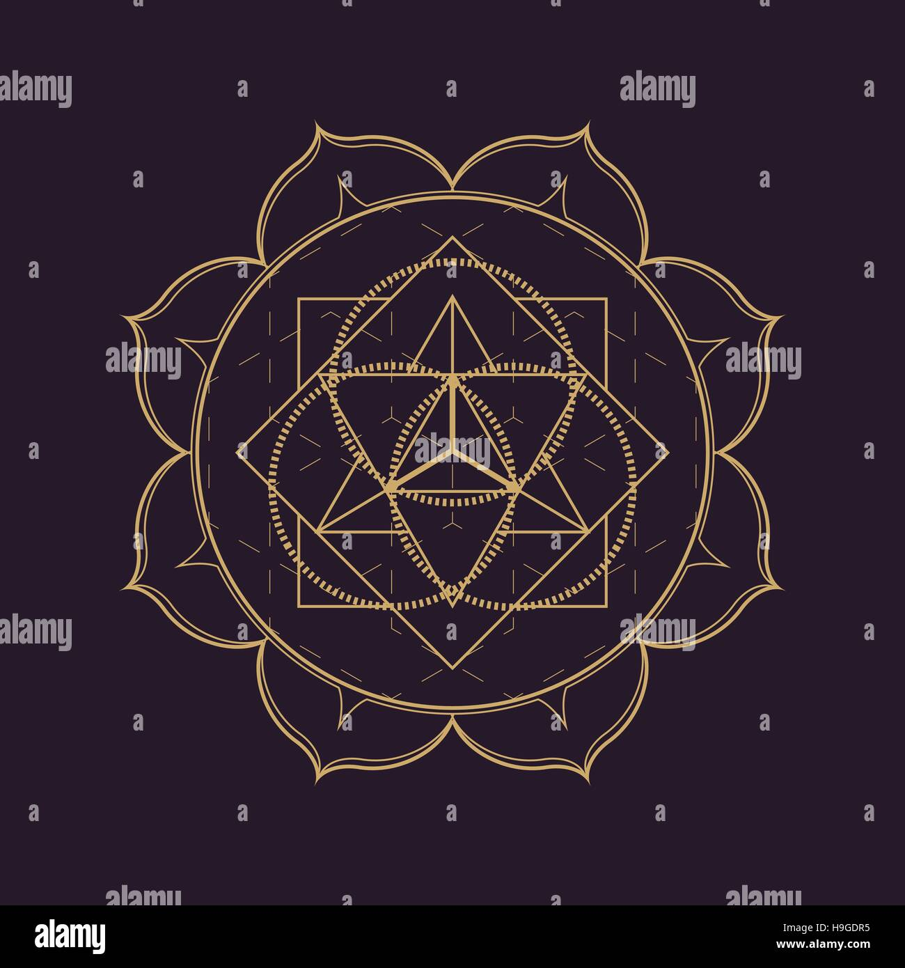 vector gold monochrome design abstract mandala sacred geometry illustration triangle circles Merkaba lotus isolated - Stock Image