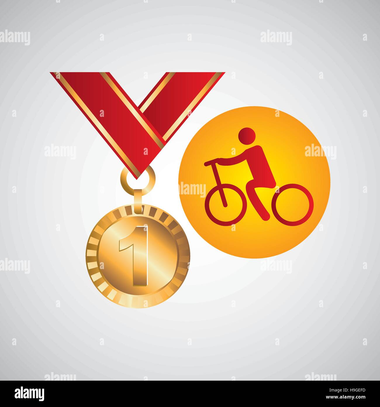 olympic gold medal cycling icon vector illustration eps 10 - Stock Vector