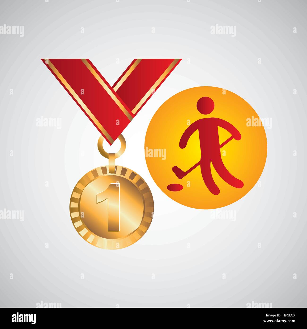 olympic gold medal golf icon vector illustration eps 10 - Stock Vector