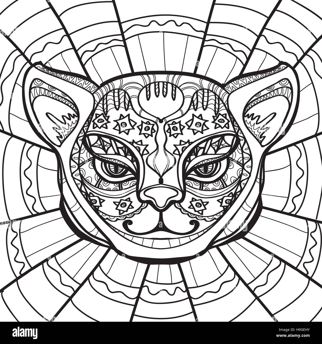 ethnic cat cat head hand drawn illustration in zentangle style coloring H9GEHY