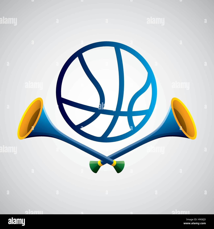 basketball sport olympic blue badge vector illustration eps 10 - Stock Vector