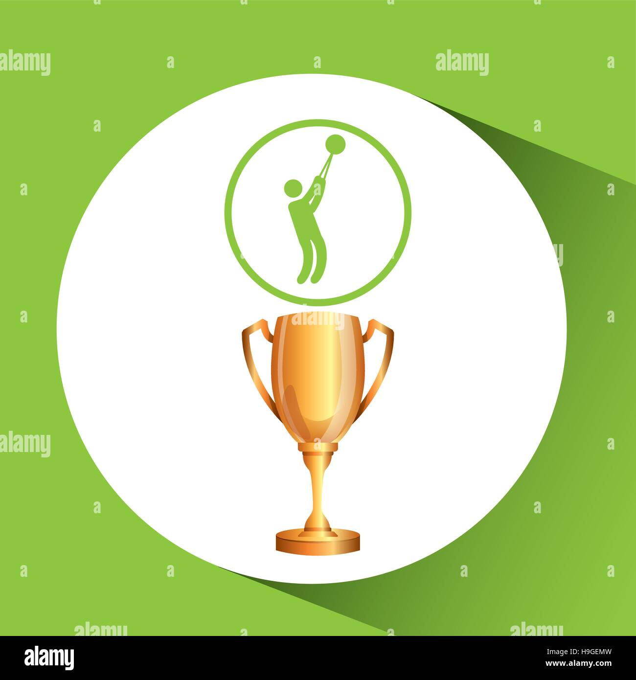 silhouette man hammer throw athlete trophy vector illustration eps 10 Stock Vector