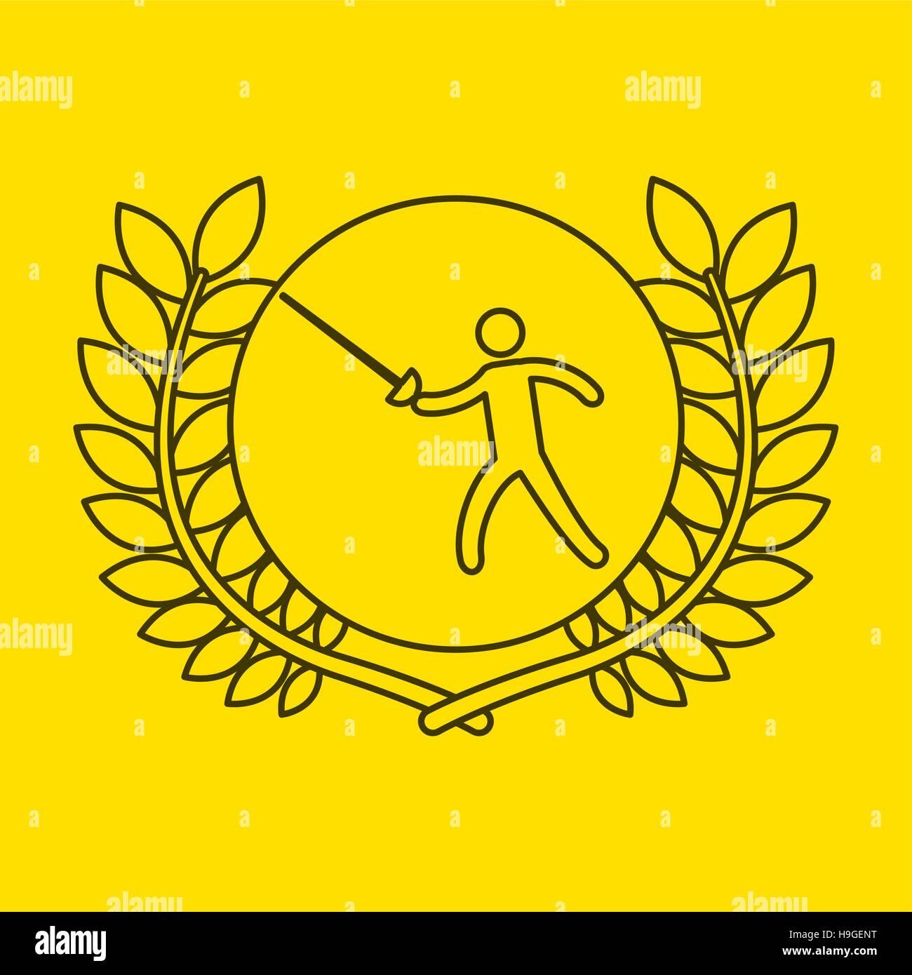 fencing sportsman flag background design vector illustration eps 10 - Stock Image
