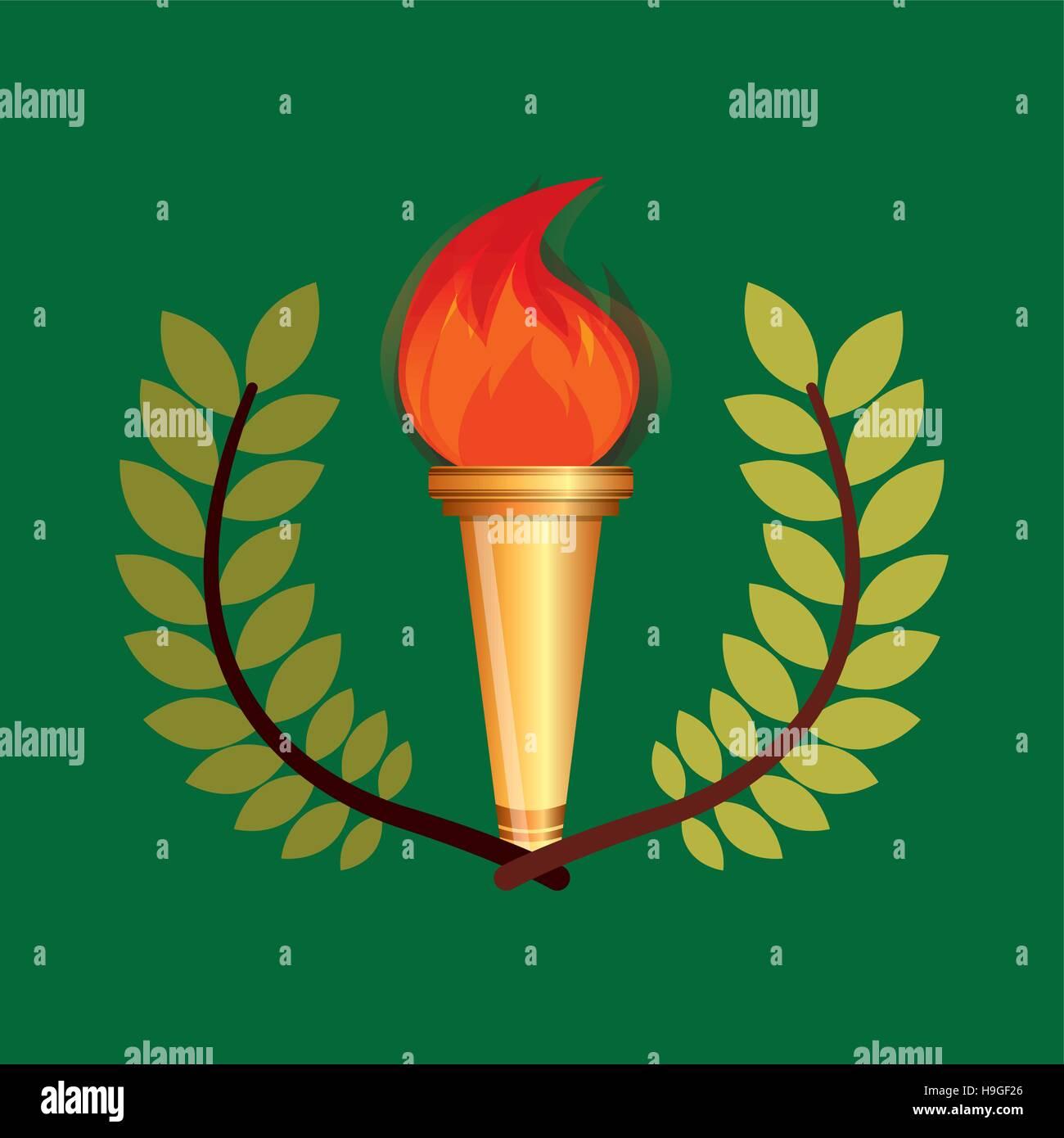 burning torch olympic games emblem vector illustration eps 10 - Stock Vector