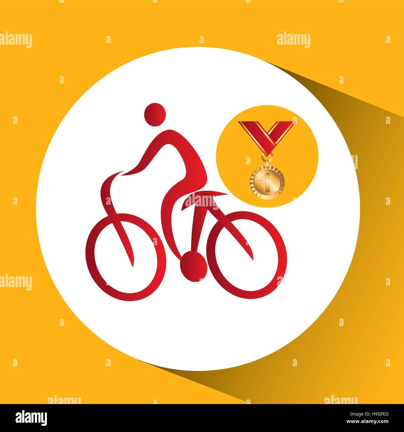 olympic gold medal mountain bike vector illustration eps 10 - Stock Vector