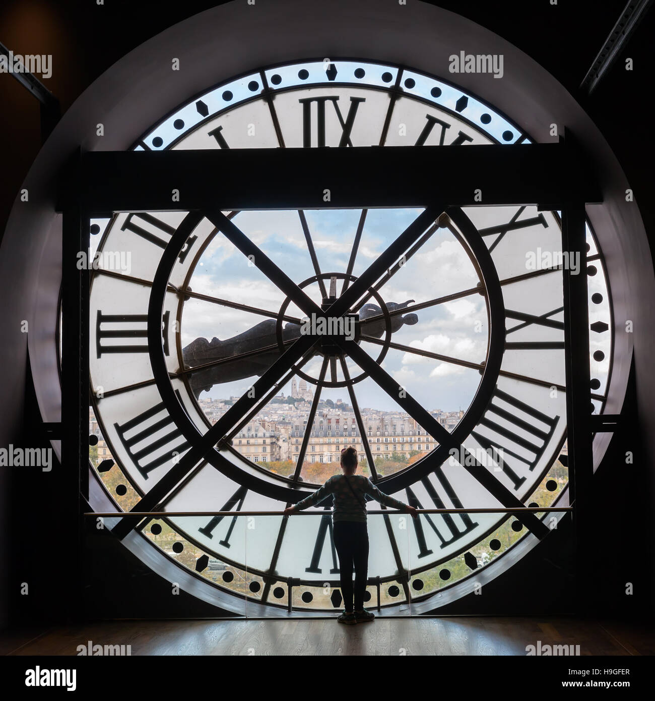 giant clock of Musee d'Orsay in Paris, France - Stock Image