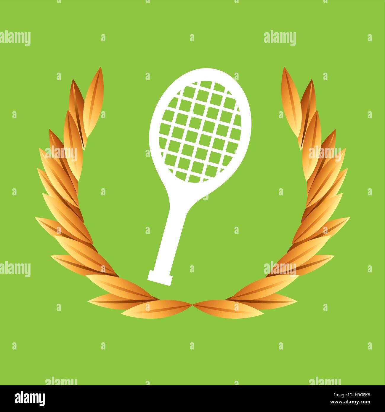 tennis sport olympic blue badge vector illustration eps 10 - Stock Vector