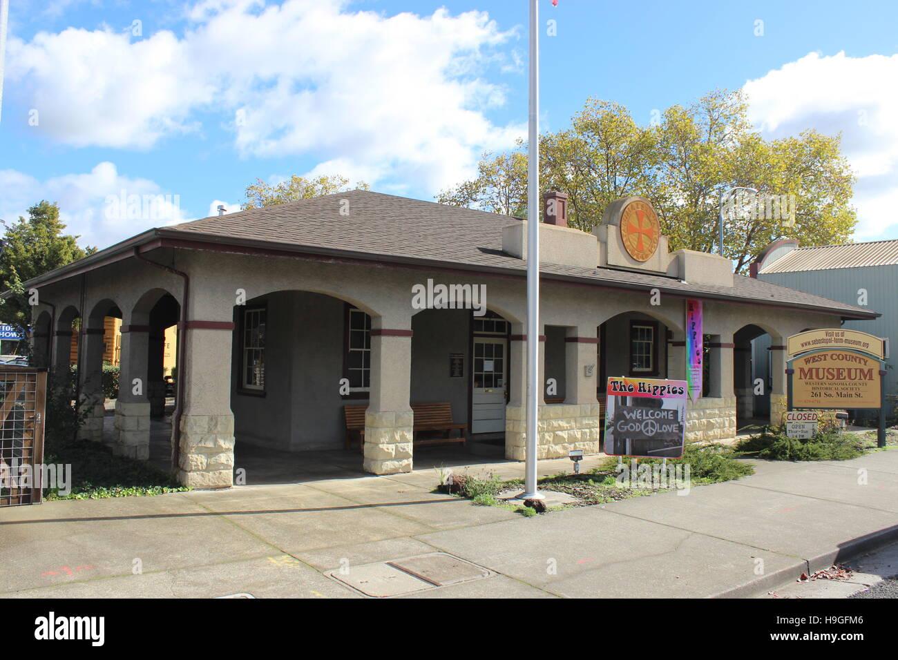 Petaluma and Santa Rosa Railroad Depot, Sebastopol, California - Stock Image