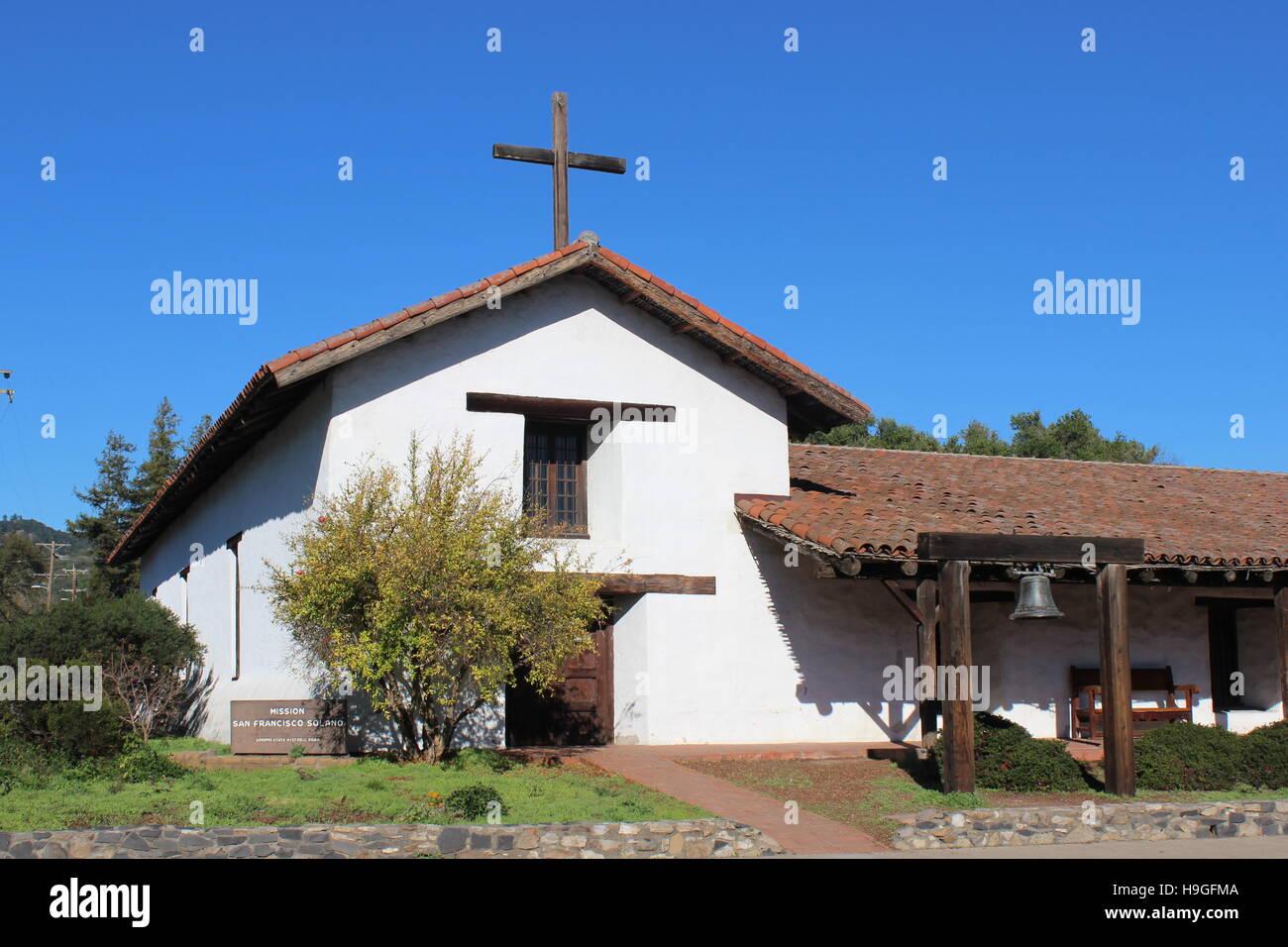 Mission San Francisco Solano, Sonoma State Historic Park, Sonoma, California - Stock Image