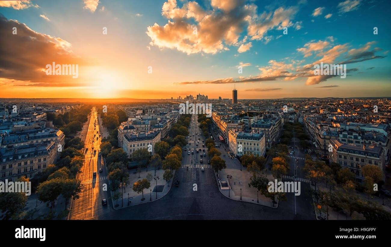 Champs-Elysees in Paris - Stock Image
