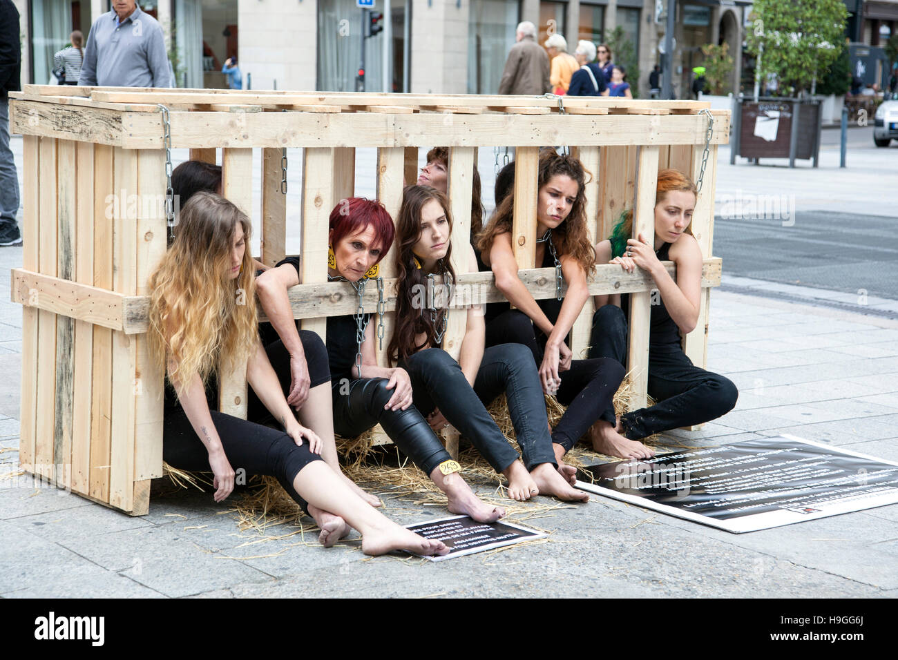 17th September 2016 - Lyon, France - Women locked in a wooden cage protesting against animal cruelty - Stock Image