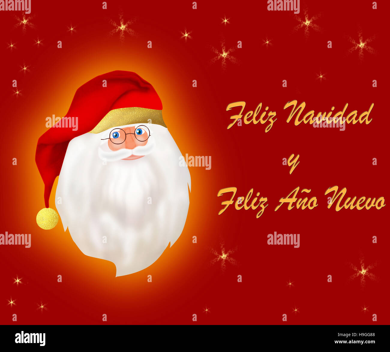 Merry Christmas and a Happy New Year spanish card - Stock Image