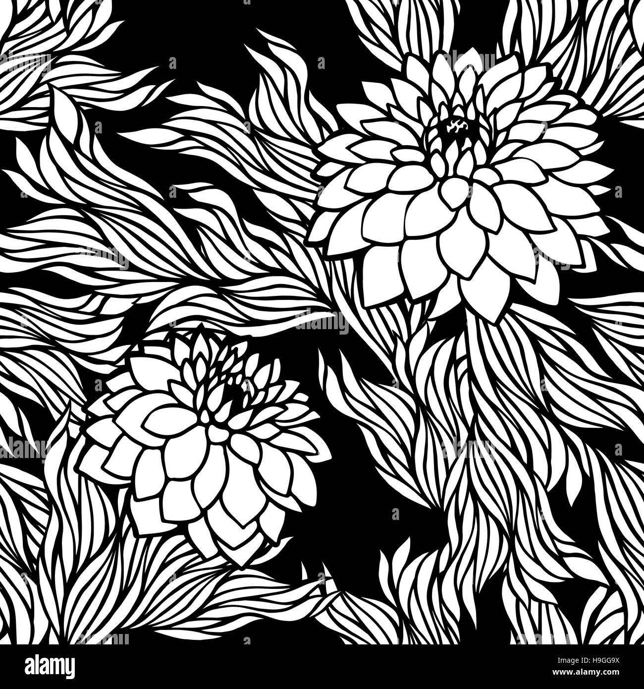 Vector Seamless Floral Pattern Black And White Monochrome In Retro