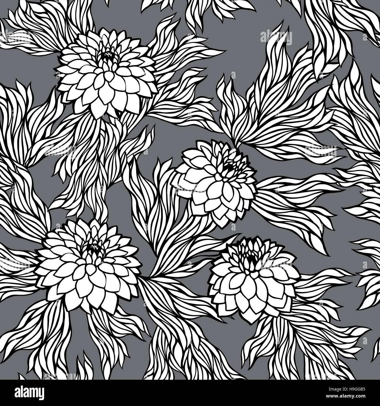 Vector Seamless Floral Pattern Black And White Monochrome In Retro Vintage Style Aster Peony Chrysanthemum Dahlia For Wallpaper Postcard Print T