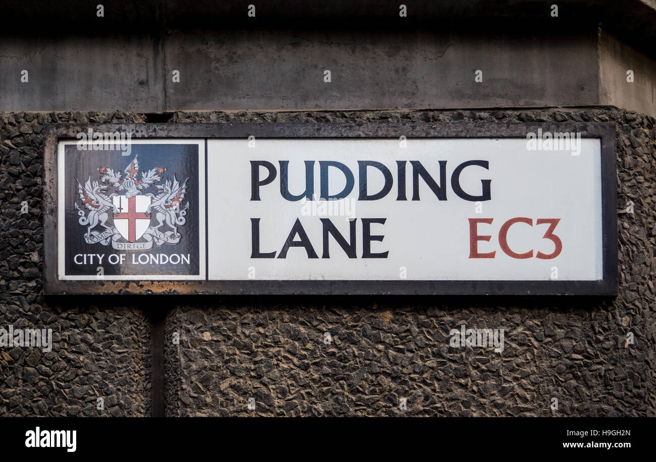 Pudding lane street name sign in London, UK, where the fire of London originally started. - Stock Image