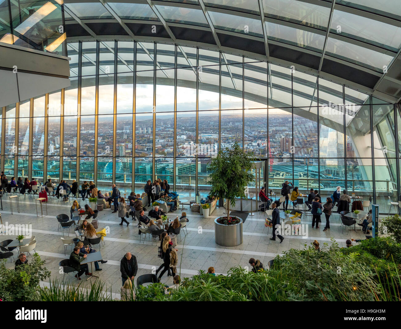 The Sky Garden at the top of the Walkie Talkie Building (20 Fenchurch Street), London, UK. - Stock Image