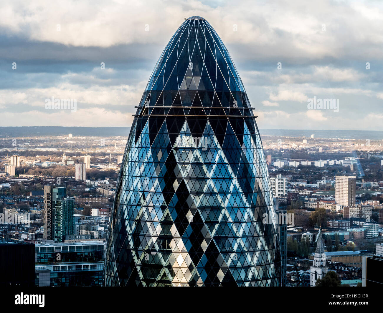 The Gherkin building, London, UK. - Stock Image