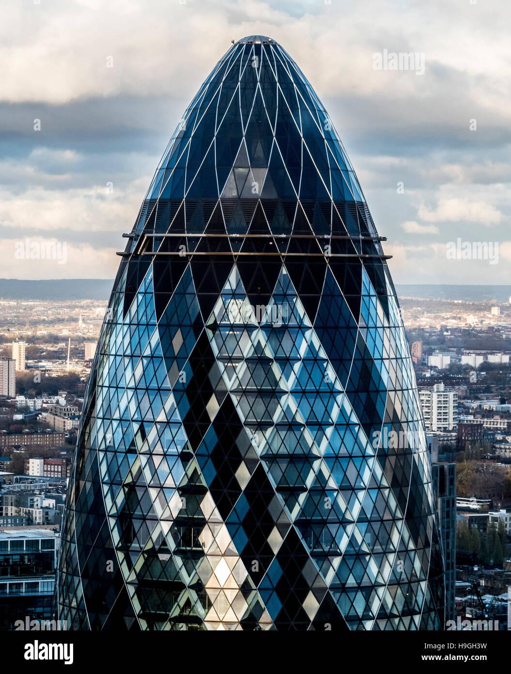 The Gherkin building, London, UK. - Stock Image