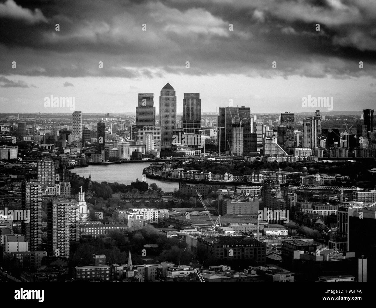Canary Wharf and River Thames, London, UK. Stock Photo