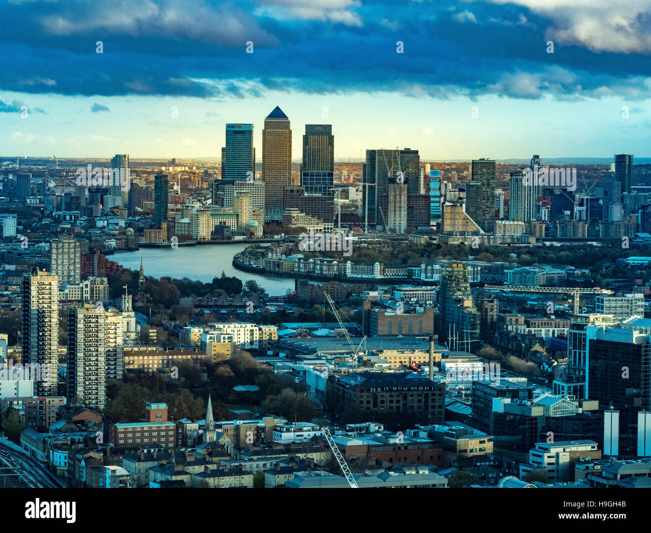 Canary Wharf and River Thames, London, UK. - Stock Image