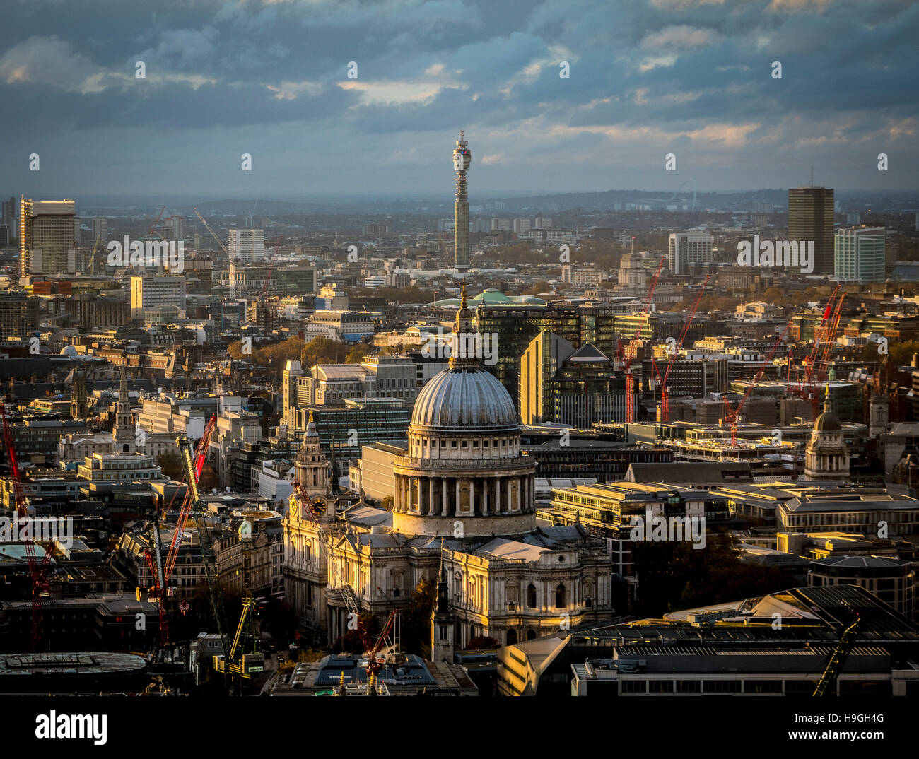 St Paul's Cathedral and the BT Telecom Tower, London, UK. - Stock Image