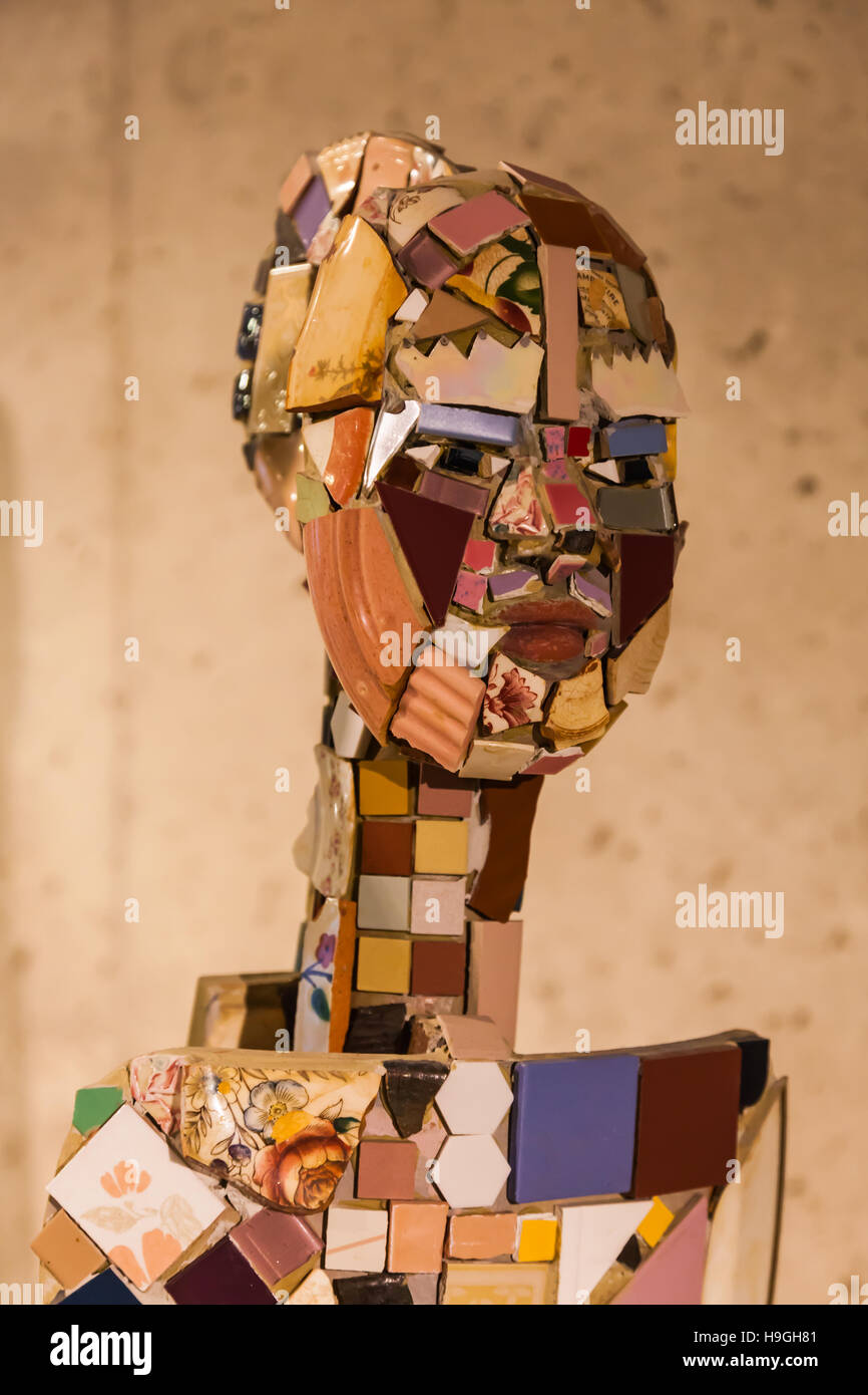 Human likeness created from pottery shards and fragments - Stock Image