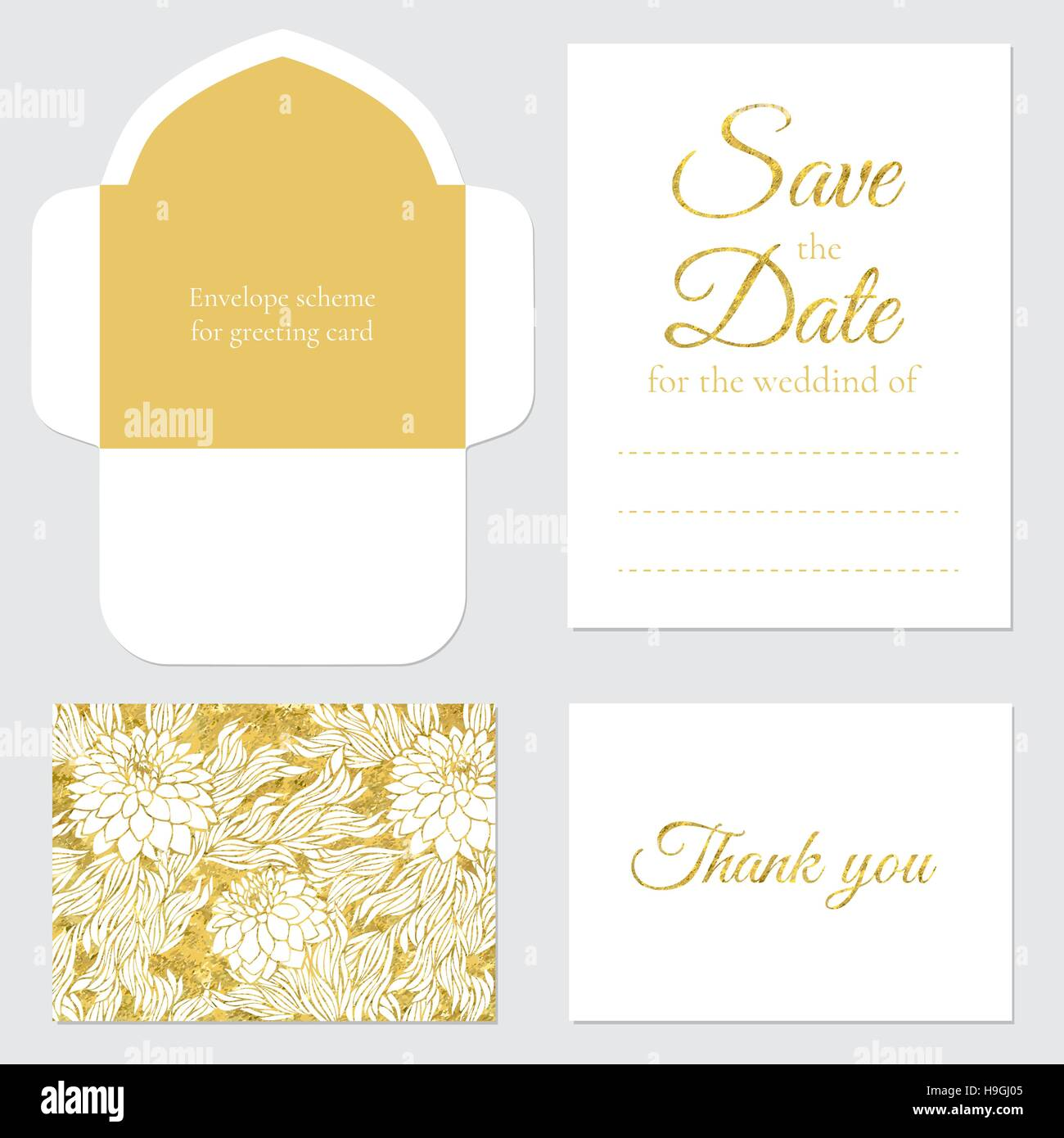Set of vector greeting cards wedding save the date gold glitter. Set ...