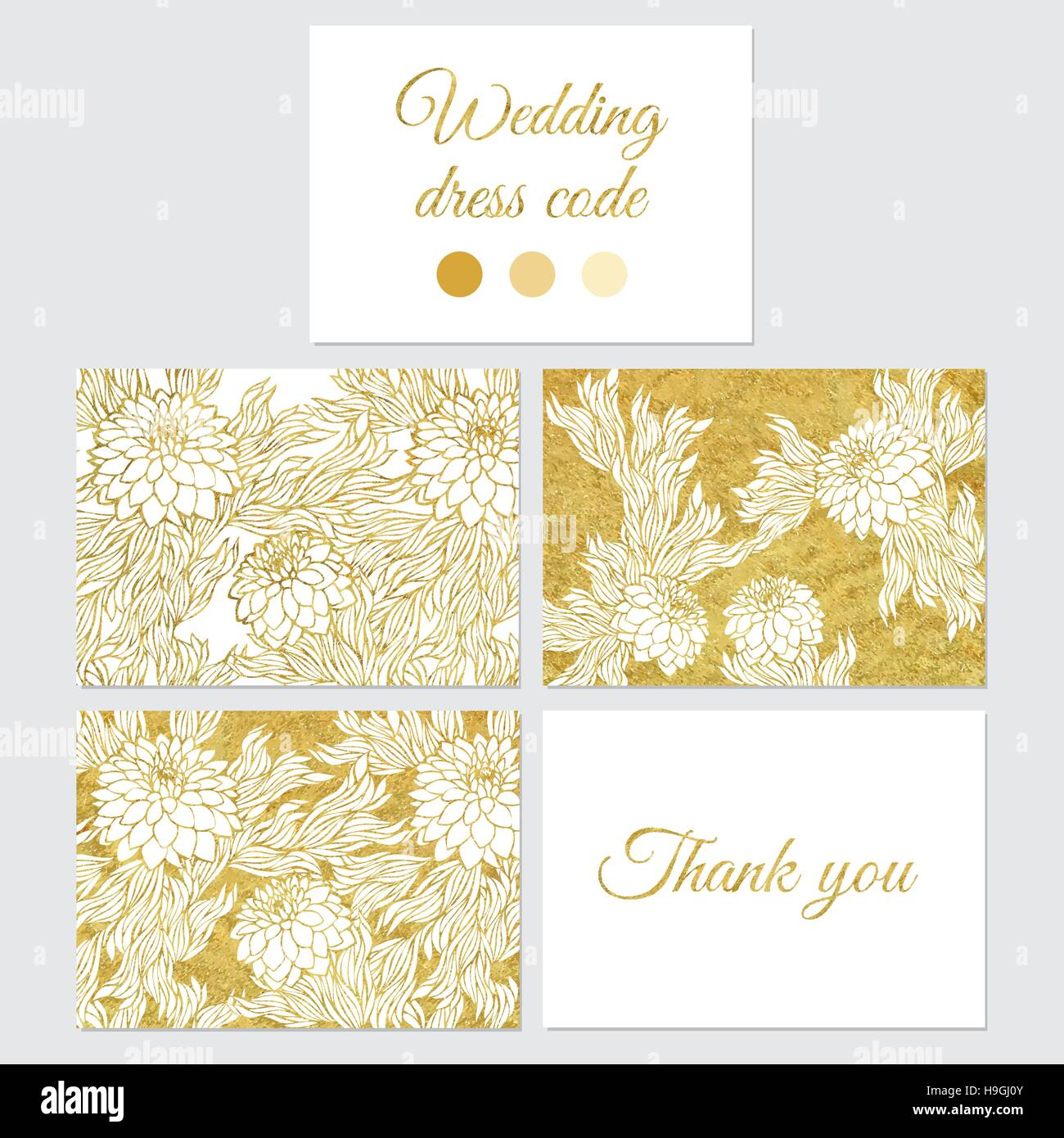 Set Of Vector Greeting Cards Wedding Save The Date Gold