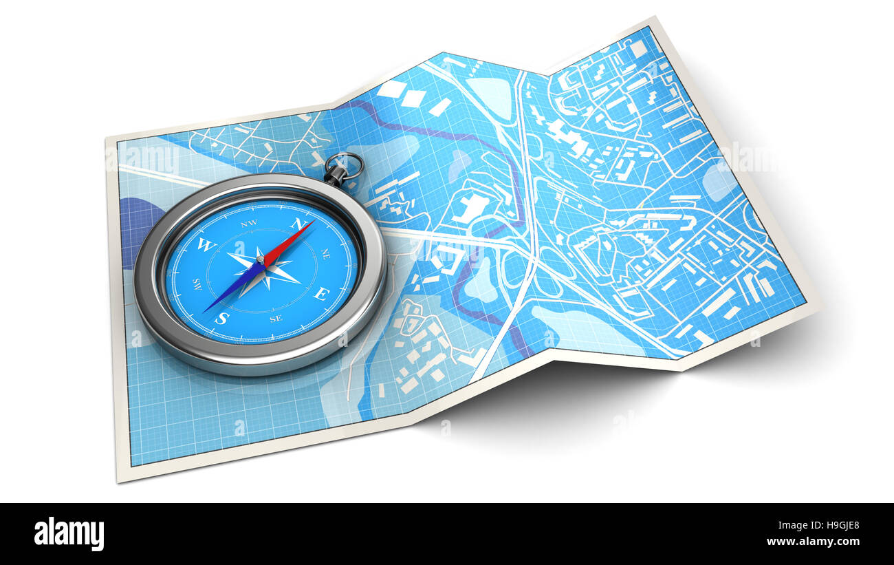 3d illustration of map and compass - navigation concept or icon - Stock Image