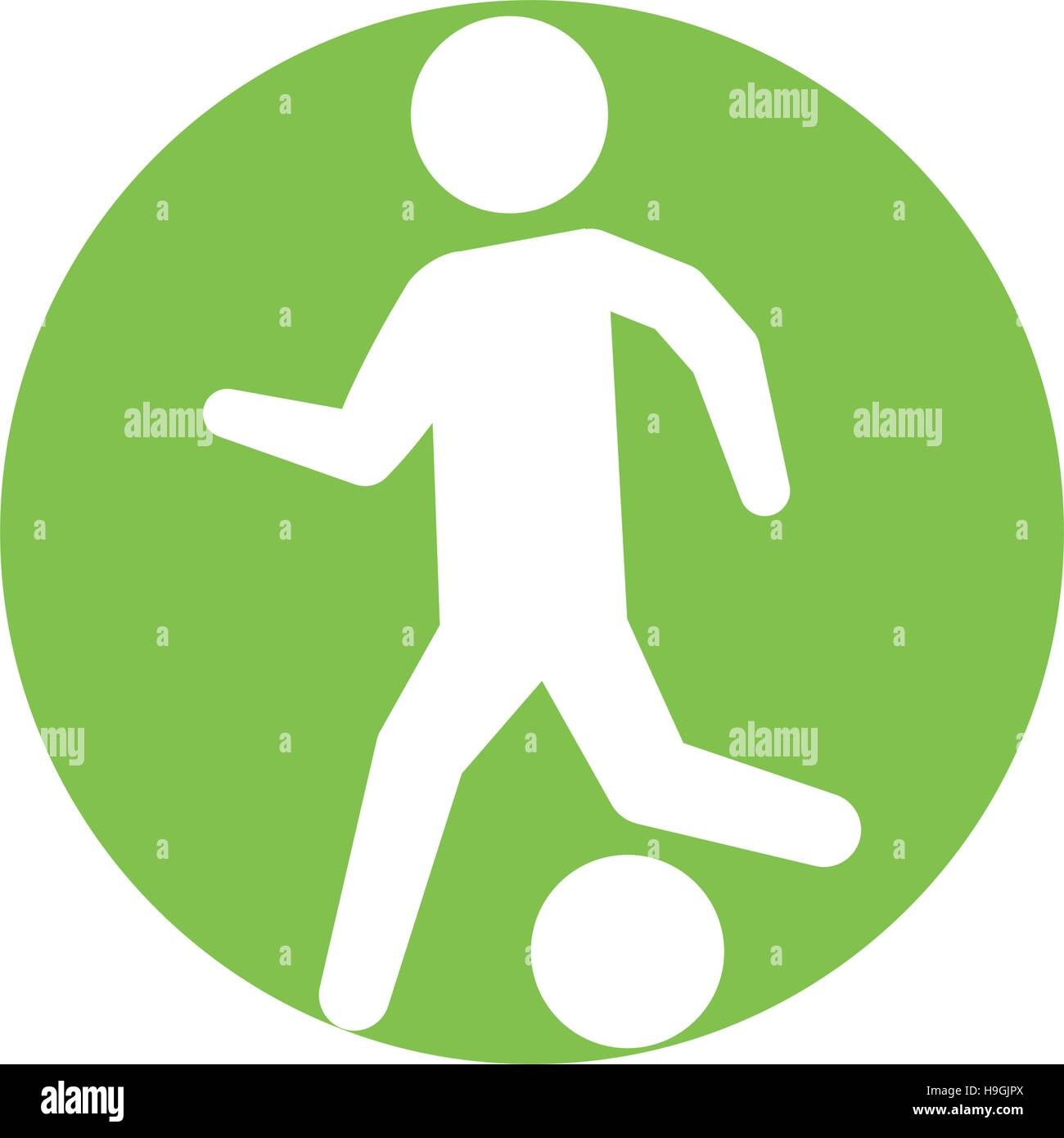 man silhouette player soccer green circle - Stock Image