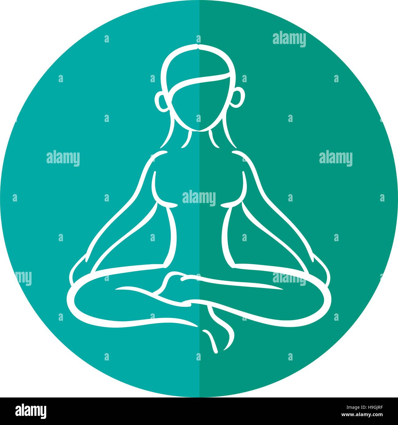 woman silhouette yoga lotus pose - Stock Vector
