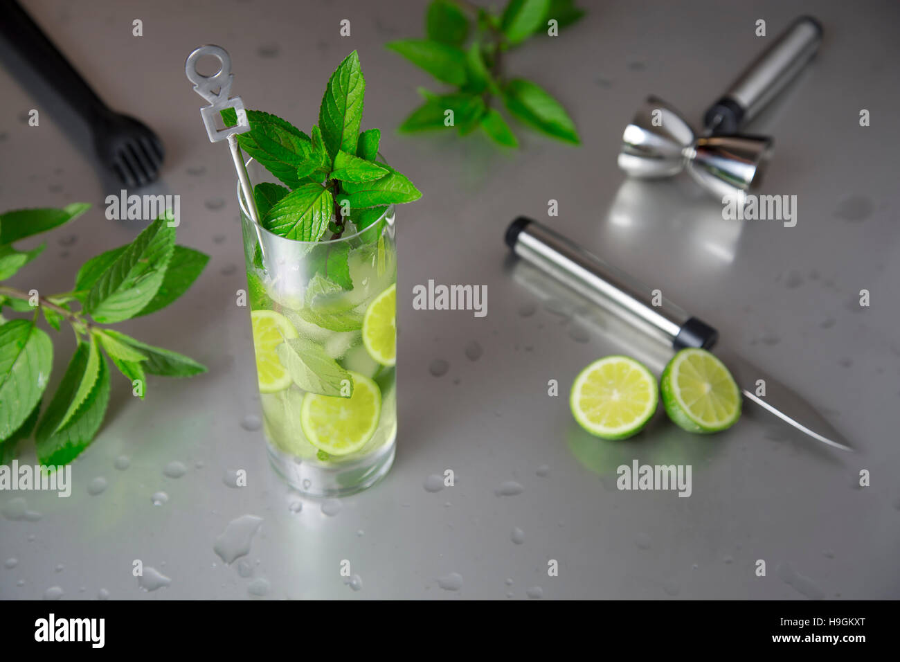 portrait of fresh mojito glass with barman tools - Stock Image